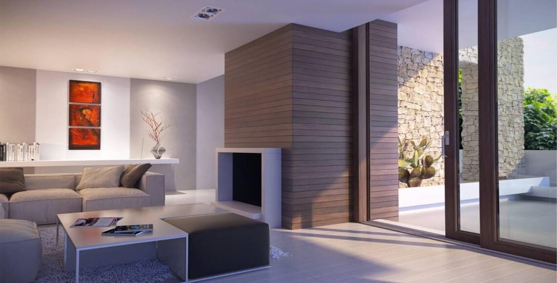 interno con porta finestra infissi alluminio legno