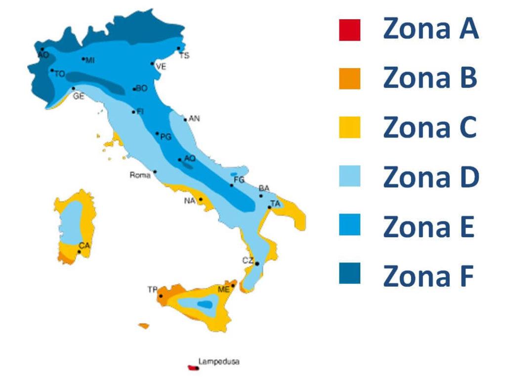 schema regioni climatiche italia
