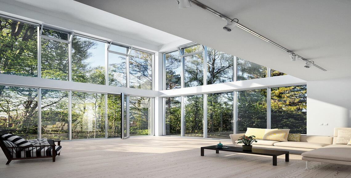 interno con facciata montanti e traversi