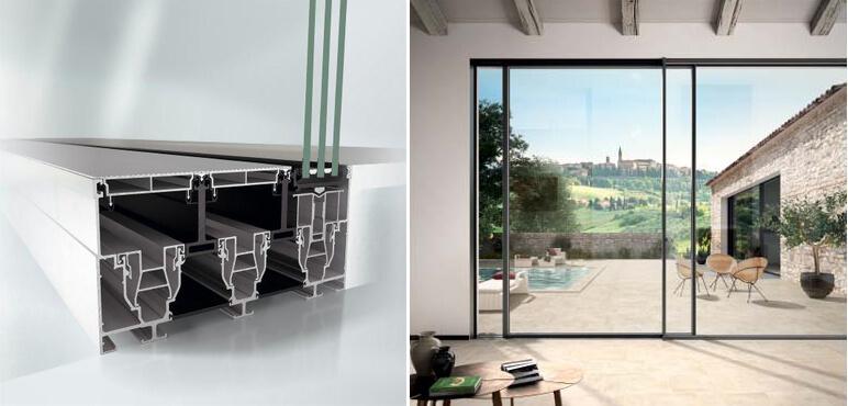 dettaglio profilo porte scorrevoli in alluminio