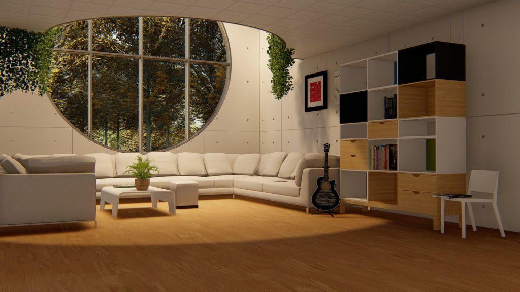 soggiorno con finestrona rotonda