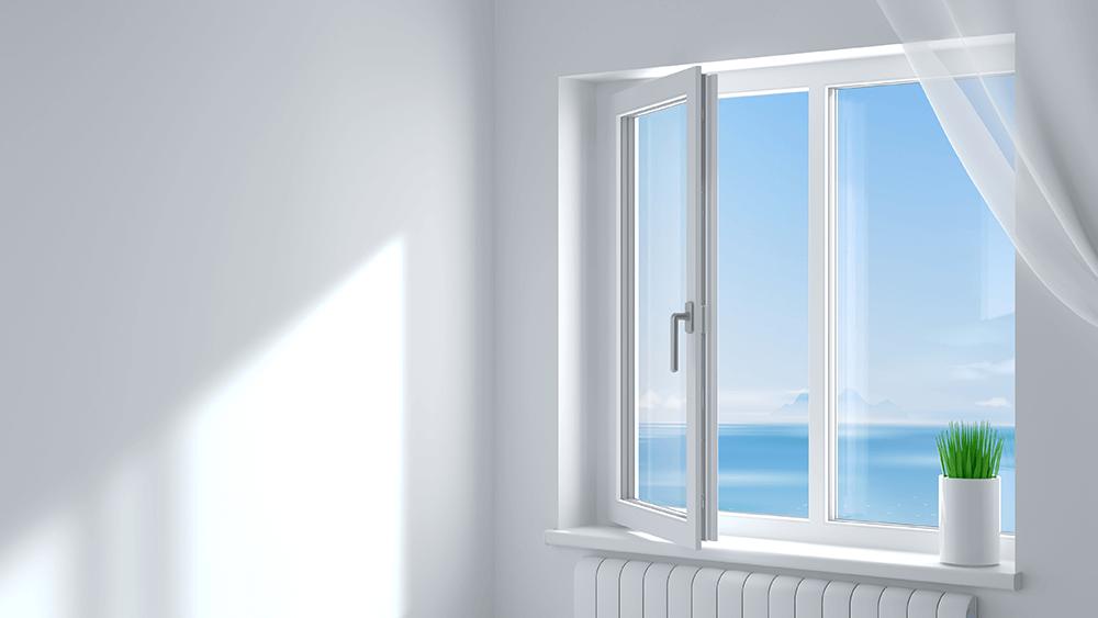 finestra standard con due battenti vista mare