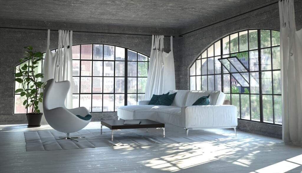 soggiorno con ampie finestre ad arco