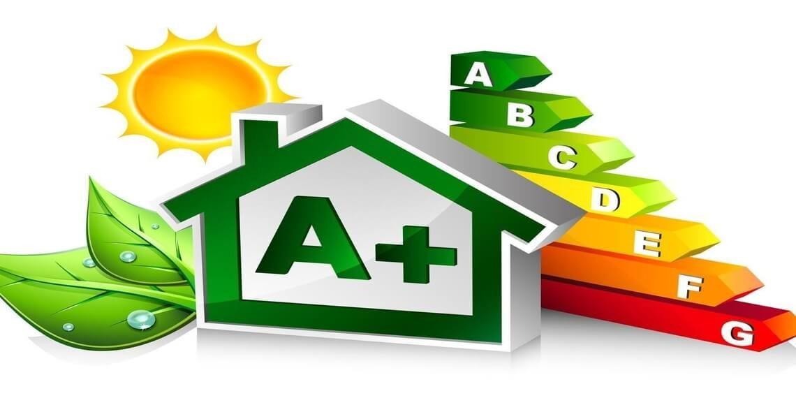 vettoriale casa con diverse classi energetiche trasmittanza termica