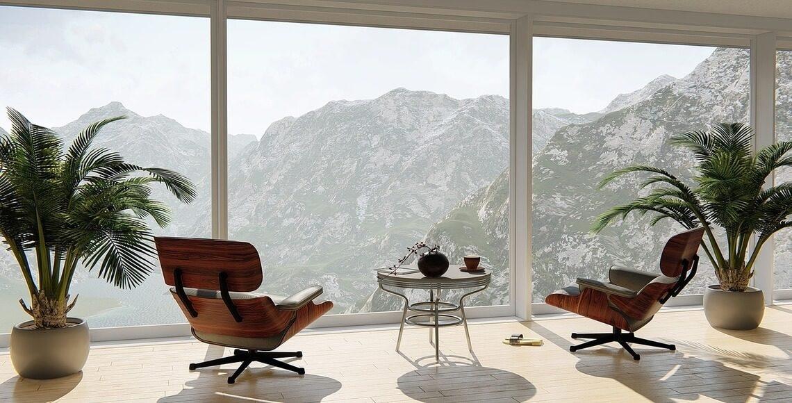 infissi per case di montagna soggiorno vista monti
